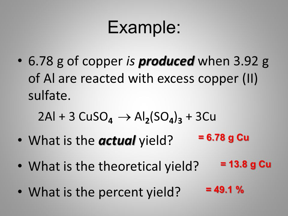 Example: 6.78 g of copper is produced when 3.92 g of Al are reacted with excess copper (II) sulfate.