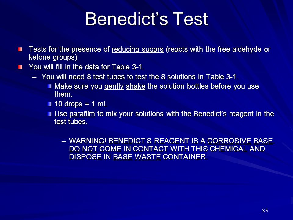 Benedict's Test Tests for the presence of reducing sugars (reacts with the free aldehyde or ketone groups)