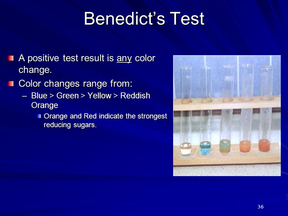 Benedict's Test A positive test result is any color change.