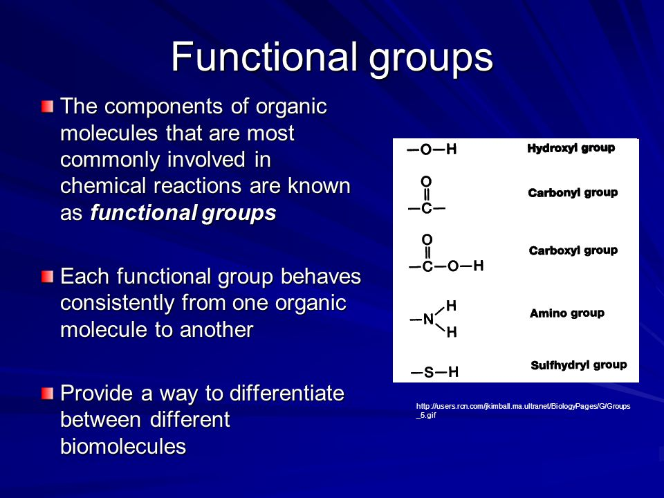 Functional groups The components of organic molecules that are most commonly involved in chemical reactions are known as functional groups.