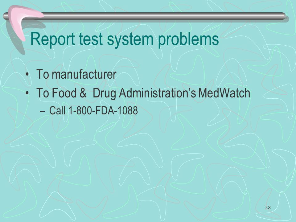 Report test system problems
