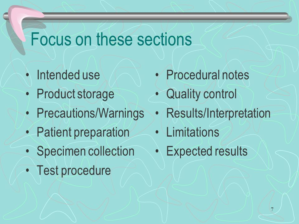 Focus on these sections