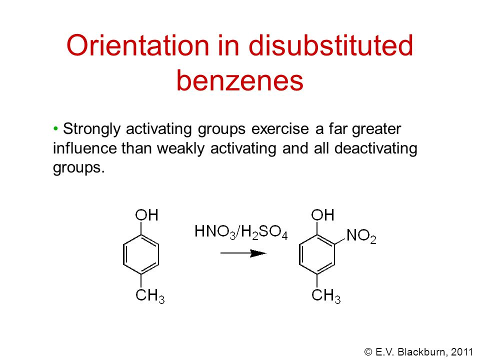 Orientation in disubstituted benzenes