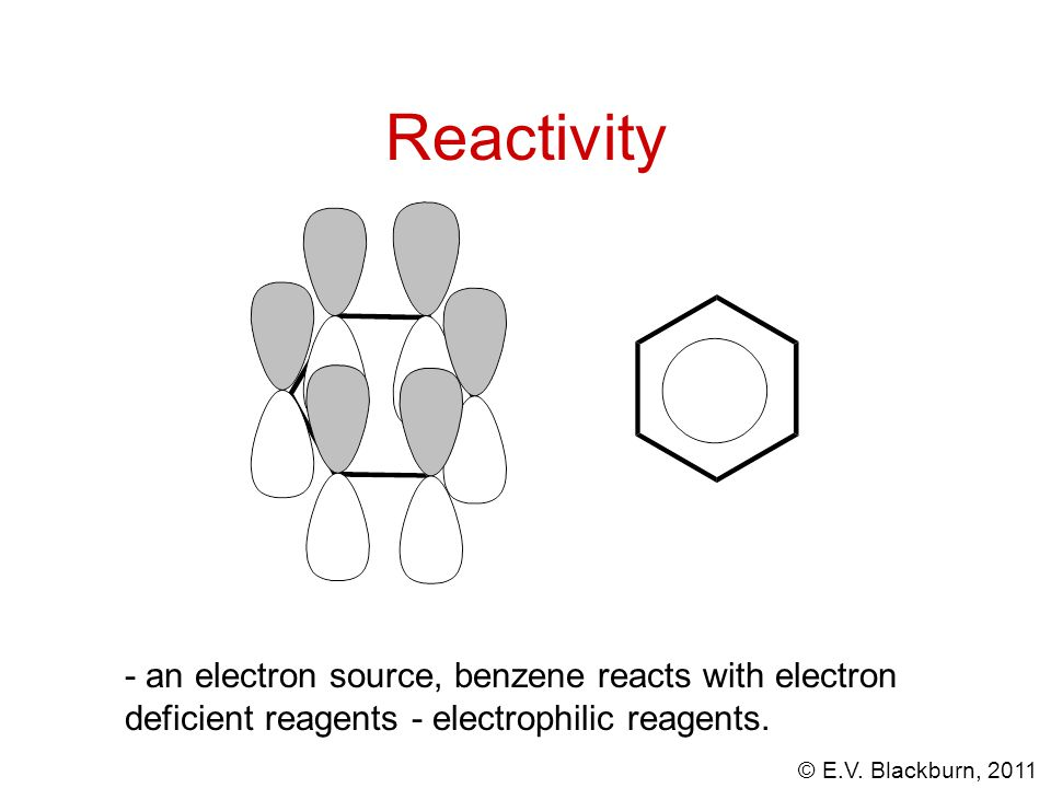 Reactivity - an electron source, benzene reacts with electron deficient reagents - electrophilic reagents.