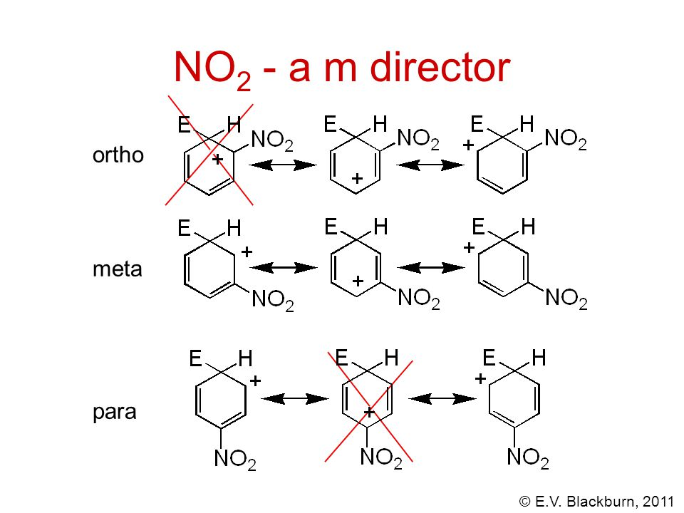 NO2 - a m director ortho meta para