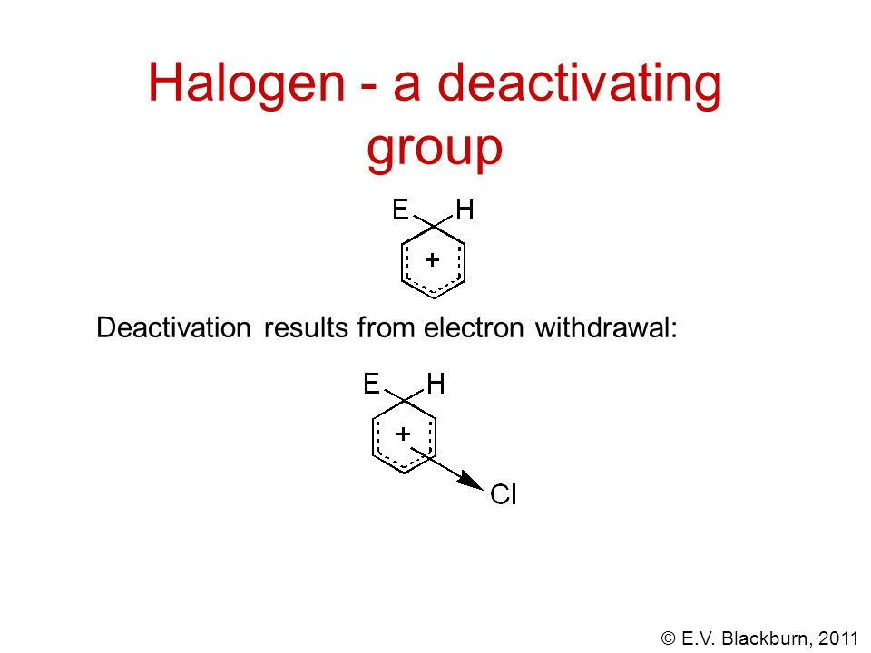 Halogen - a deactivating group