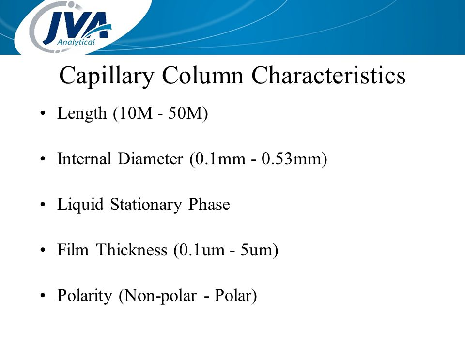Capillary Column Characteristics