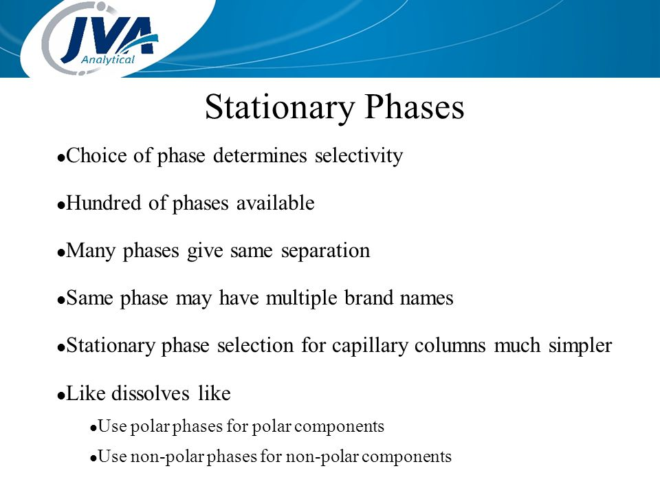 Stationary Phases Choice of phase determines selectivity