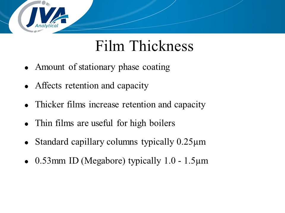 Film Thickness Amount of stationary phase coating