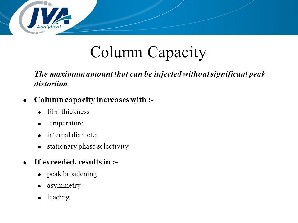 Column Capacity The maximum amount that can be injected without significant peak distortion. Column capacity increases with :-