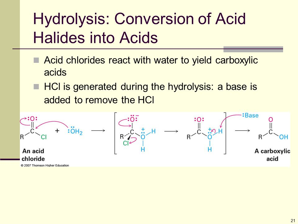 Hydrolysis: Conversion of Acid Halides into Acids