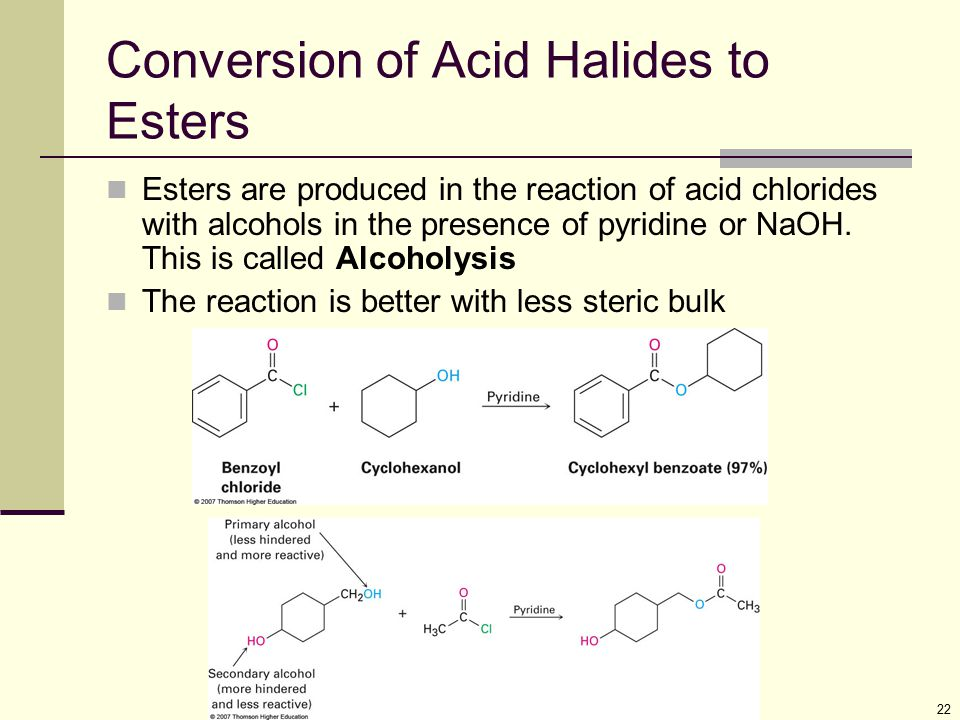 Conversion of Acid Halides to Esters
