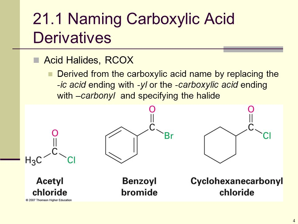 21.1 Naming Carboxylic Acid Derivatives