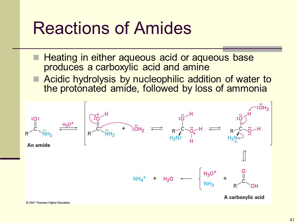 Reactions of Amides Heating in either aqueous acid or aqueous base produces a carboxylic acid and amine.