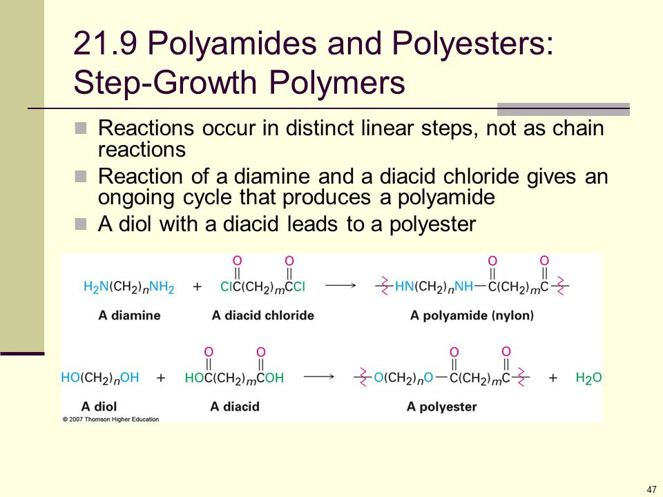 21.9 Polyamides and Polyesters: Step-Growth Polymers