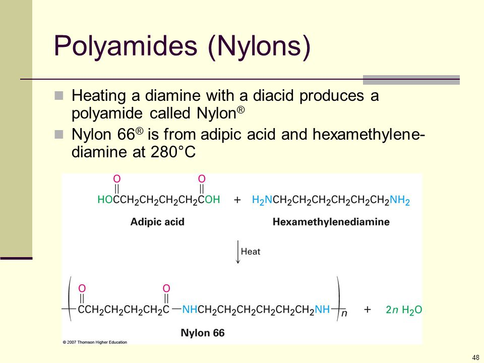 Polyamides (Nylons) Heating a diamine with a diacid produces a polyamide called Nylon®