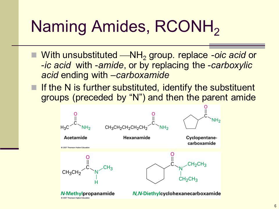 Naming Amides, RCONH2