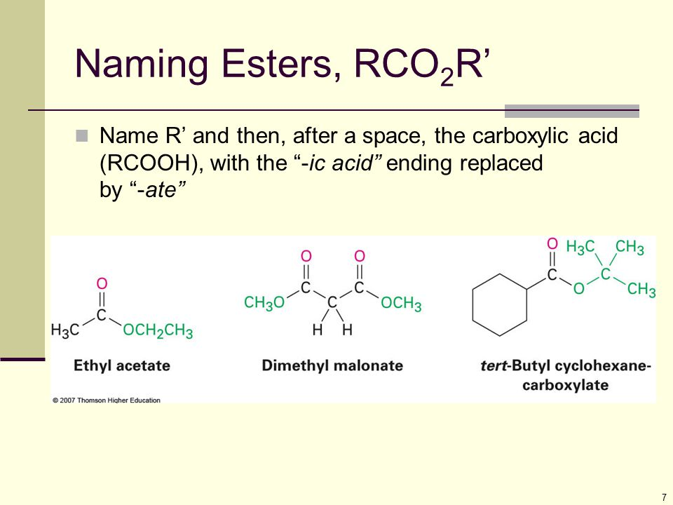 Naming Esters, RCO2R' Name R' and then, after a space, the carboxylic acid (RCOOH), with the -ic acid ending replaced by -ate