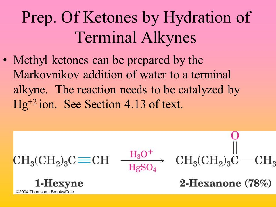 Prep. Of Ketones by Hydration of Terminal Alkynes