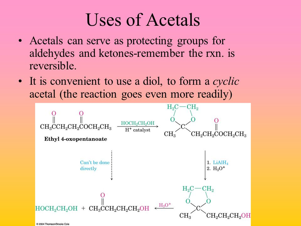 Uses of Acetals Acetals can serve as protecting groups for aldehydes and ketones-remember the rxn. is reversible.
