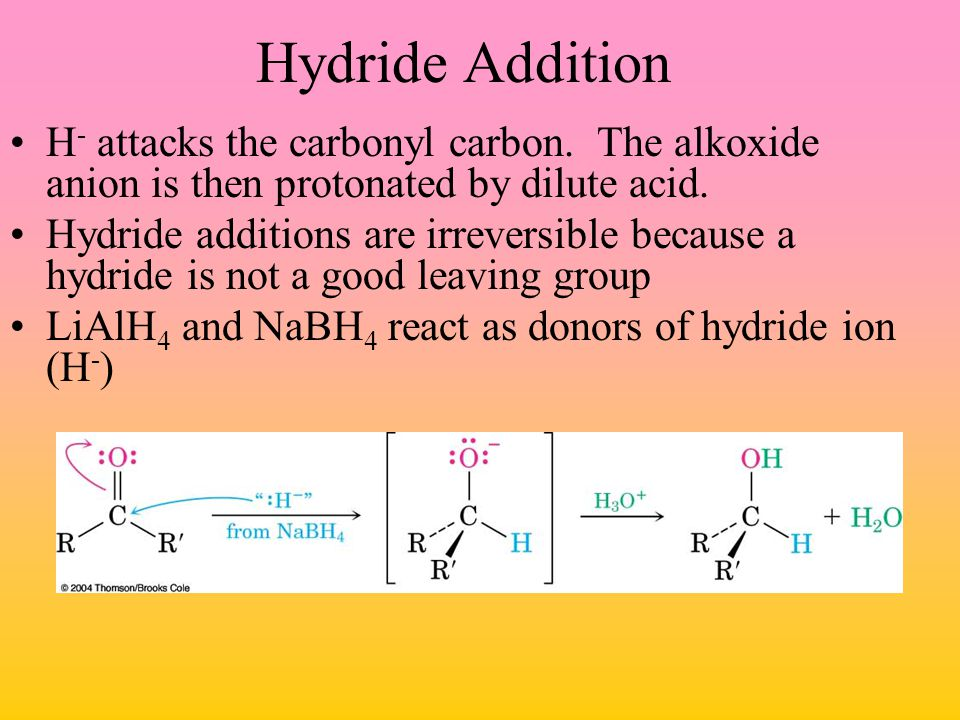 Hydride Addition H- attacks the carbonyl carbon. The alkoxide anion is then protonated by dilute acid.