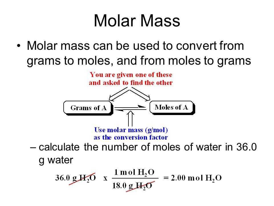 Molar Mass Molar mass can be used to convert from grams to moles, and from moles to grams.