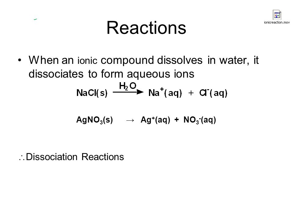 Reactions When an ionic compound dissolves in water, it dissociates to form aqueous ions. AgNO3(s) → Ag+(aq) + NO3-(aq)