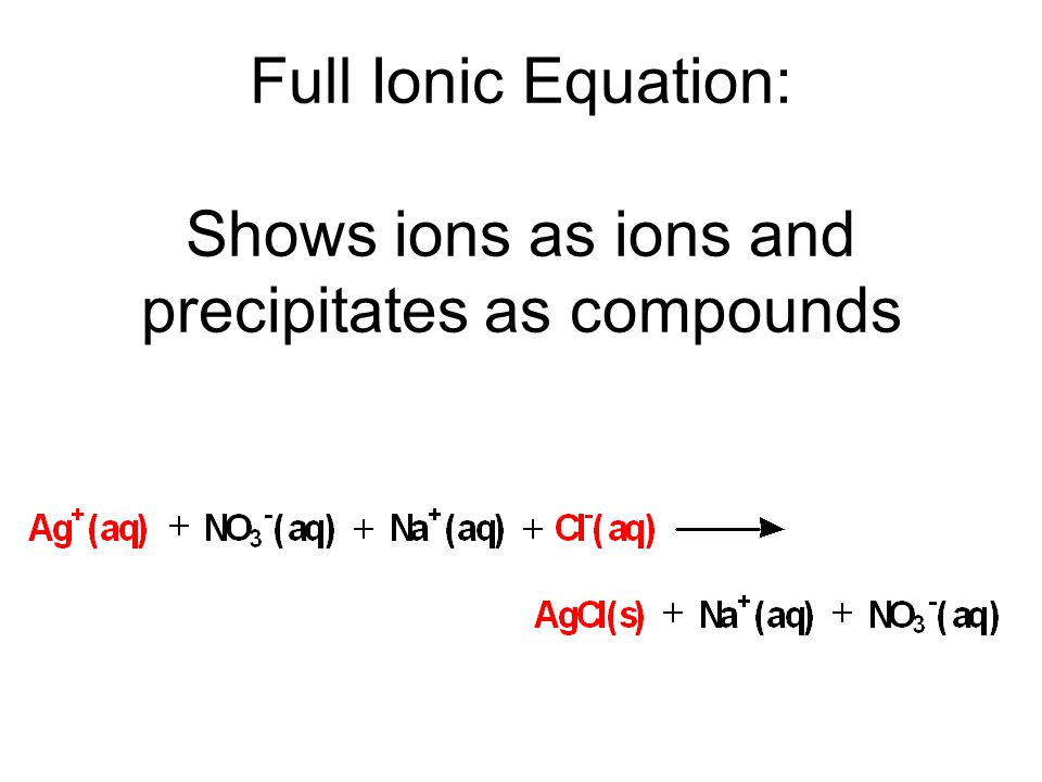 Full Ionic Equation: Shows ions as ions and precipitates as compounds