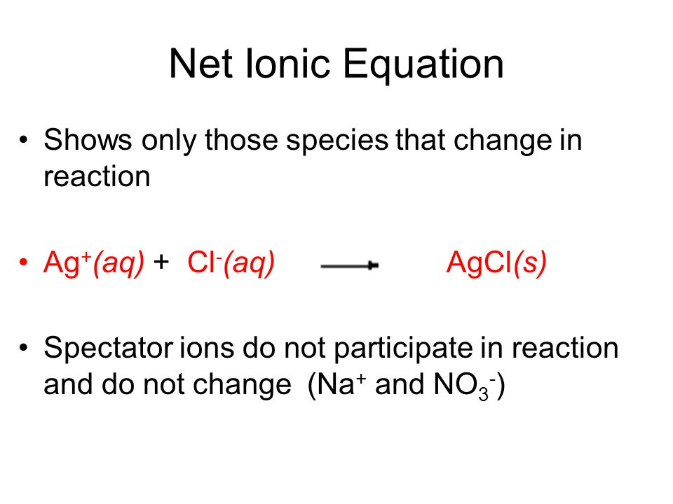 Net Ionic Equation Shows only those species that change in reaction
