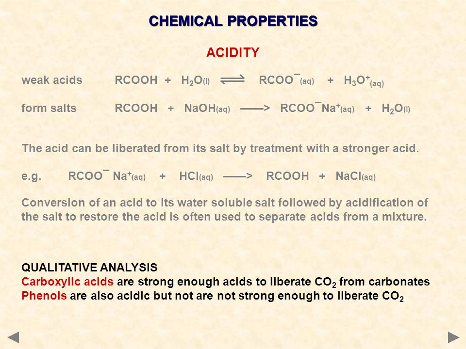 CHEMICAL PROPERTIES ACIDITY