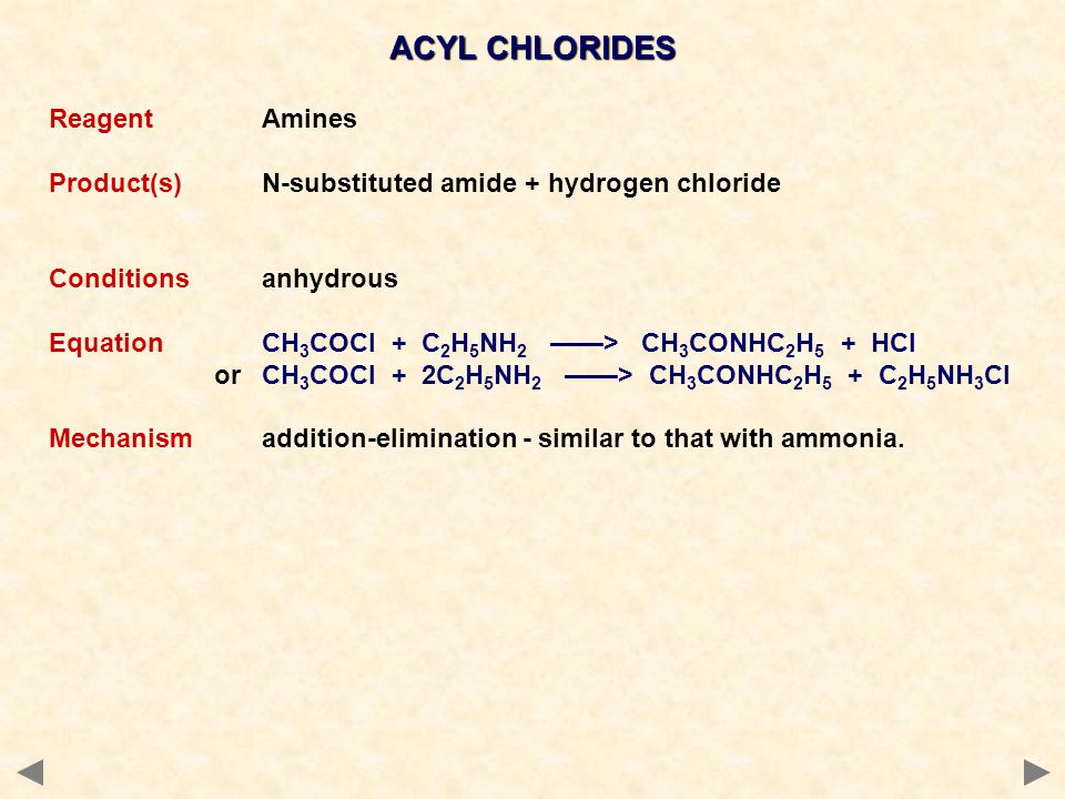 ACYL CHLORIDES Reagent Amines
