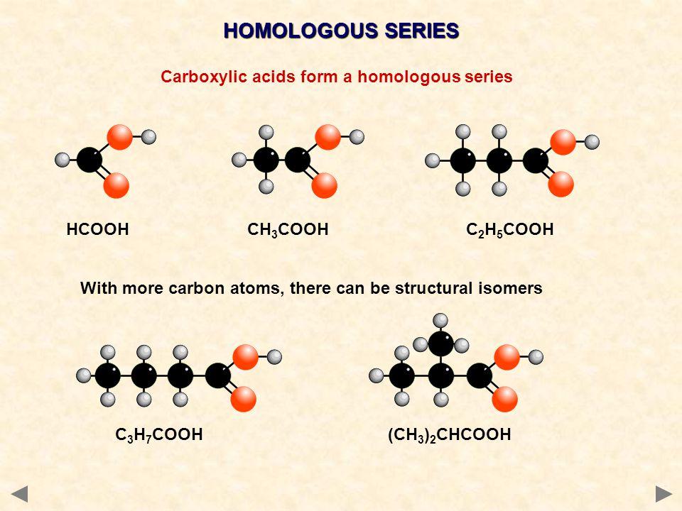 Carboxylic acids form a homologous series