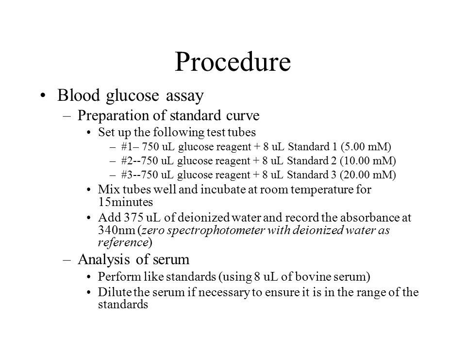 Procedure Blood glucose assay Preparation of standard curve