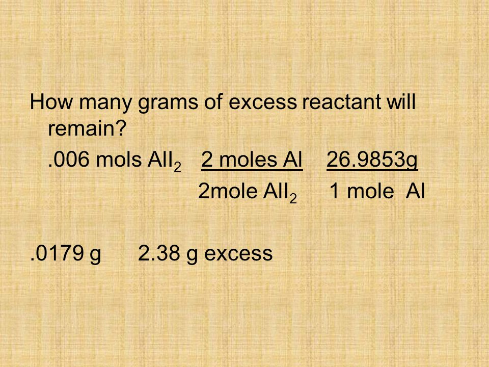 How many grams of excess reactant will remain