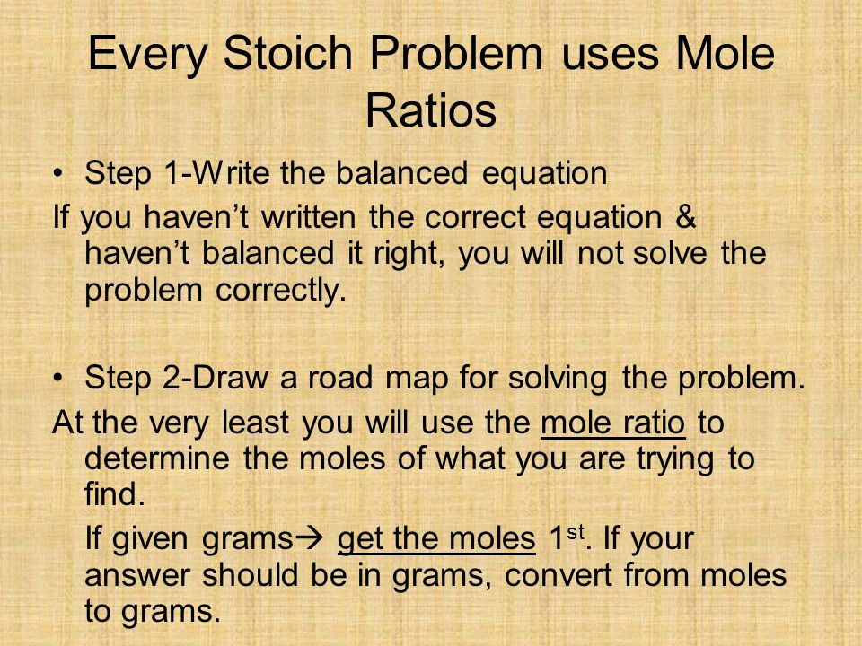 Every Stoich Problem uses Mole Ratios