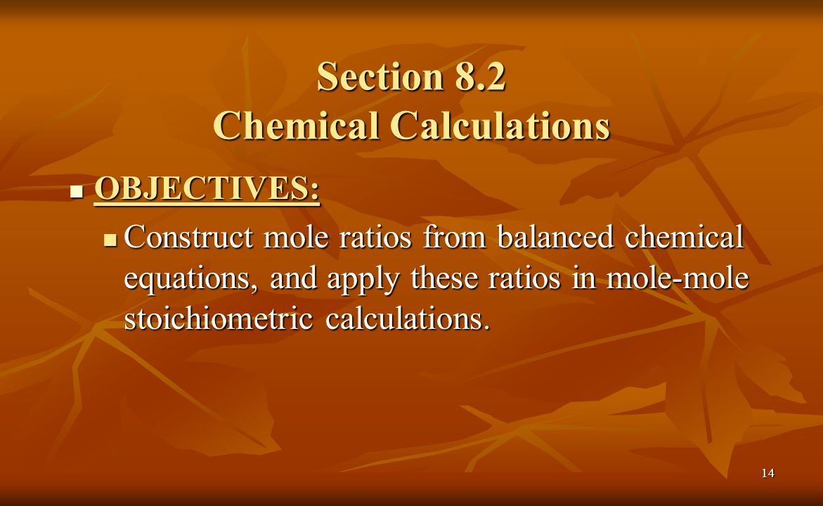 Section 8.2 Chemical Calculations