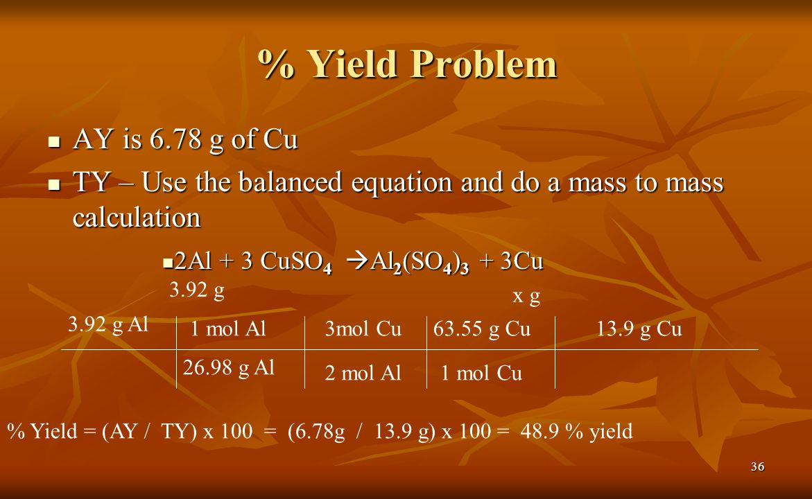 % Yield Problem AY is 6.78 g of Cu