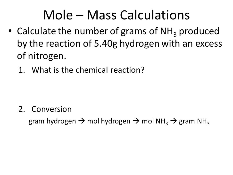 Mole – Mass Calculations
