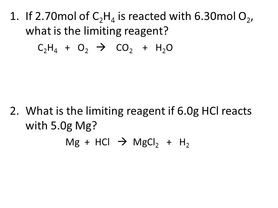 What is the limiting reagent if 6.0g HCl reacts with 5.0g Mg