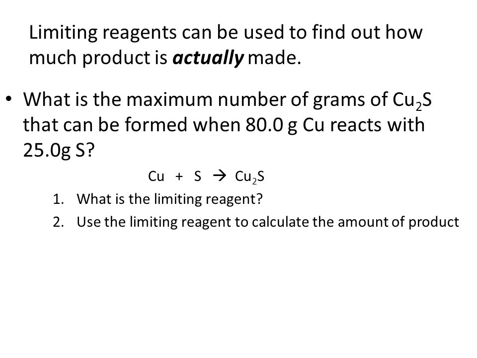 how to find the limitingr reagent
