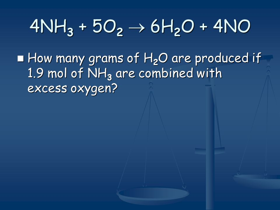 4NH3 + 5O2  6H2O + 4NO How many grams of H2O are produced if 1.9 mol of NH3 are combined with excess oxygen