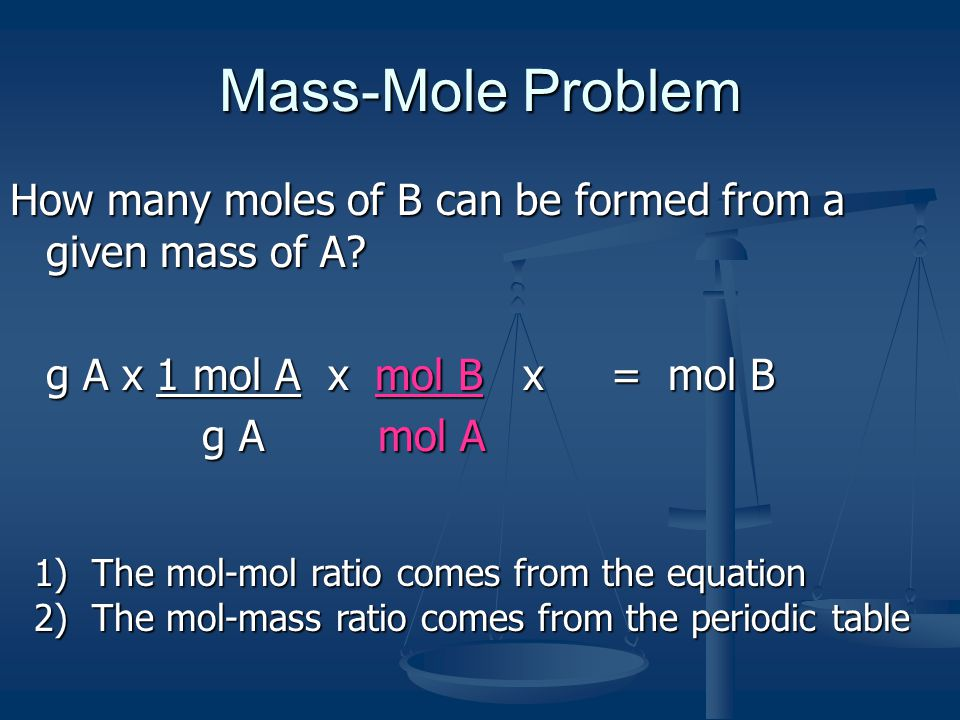 Mass-Mole Problem How many moles of B can be formed from a given mass of A g A x 1 mol A x mol B x = mol B.