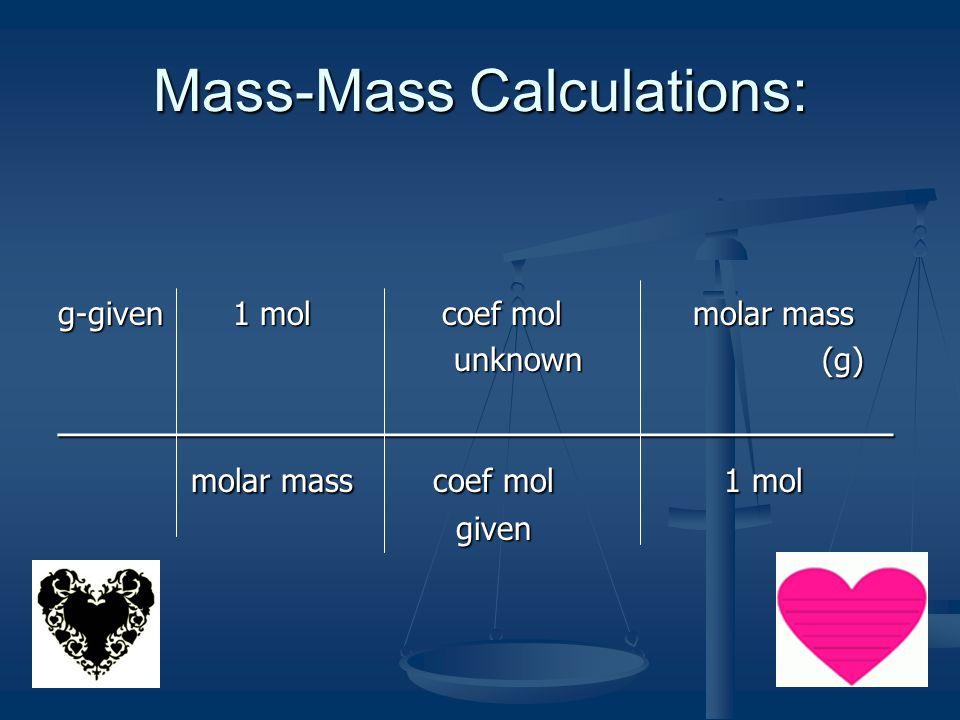 Mass-Mass Calculations:
