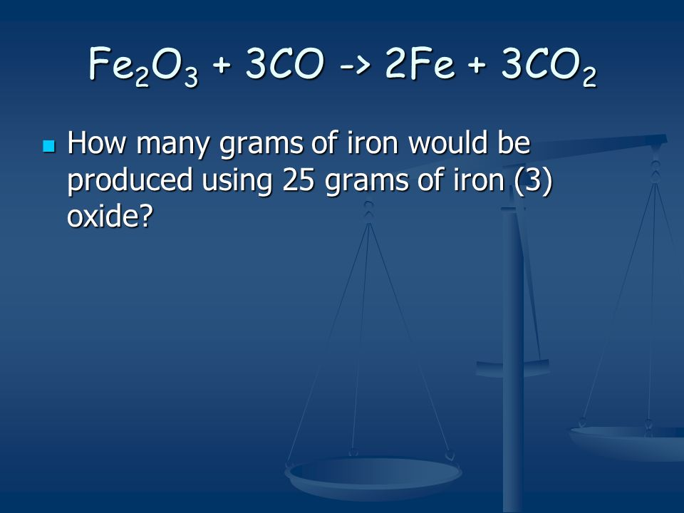 Fe2O3 + 3CO -> 2Fe + 3CO2 How many grams of iron would be produced using 25 grams of iron (3) oxide