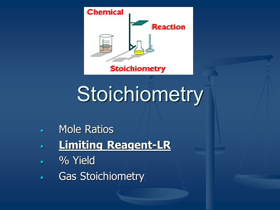 Mole Ratios Limiting Reagent-LR % Yield Gas Stoichiometry
