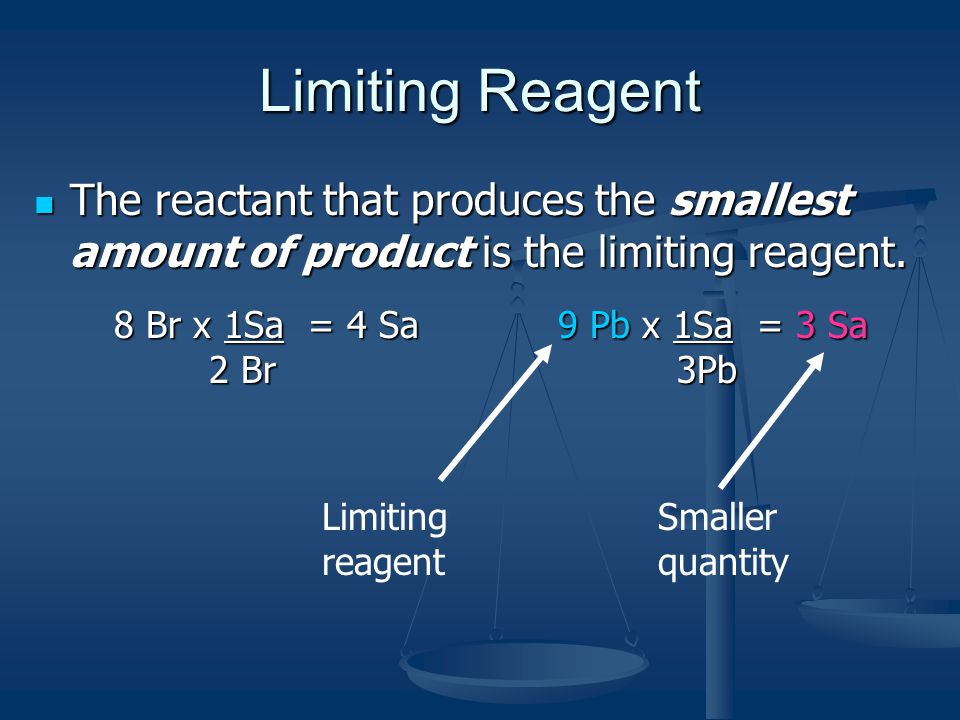 Limiting Reagent The reactant that produces the smallest amount of product is the limiting reagent.
