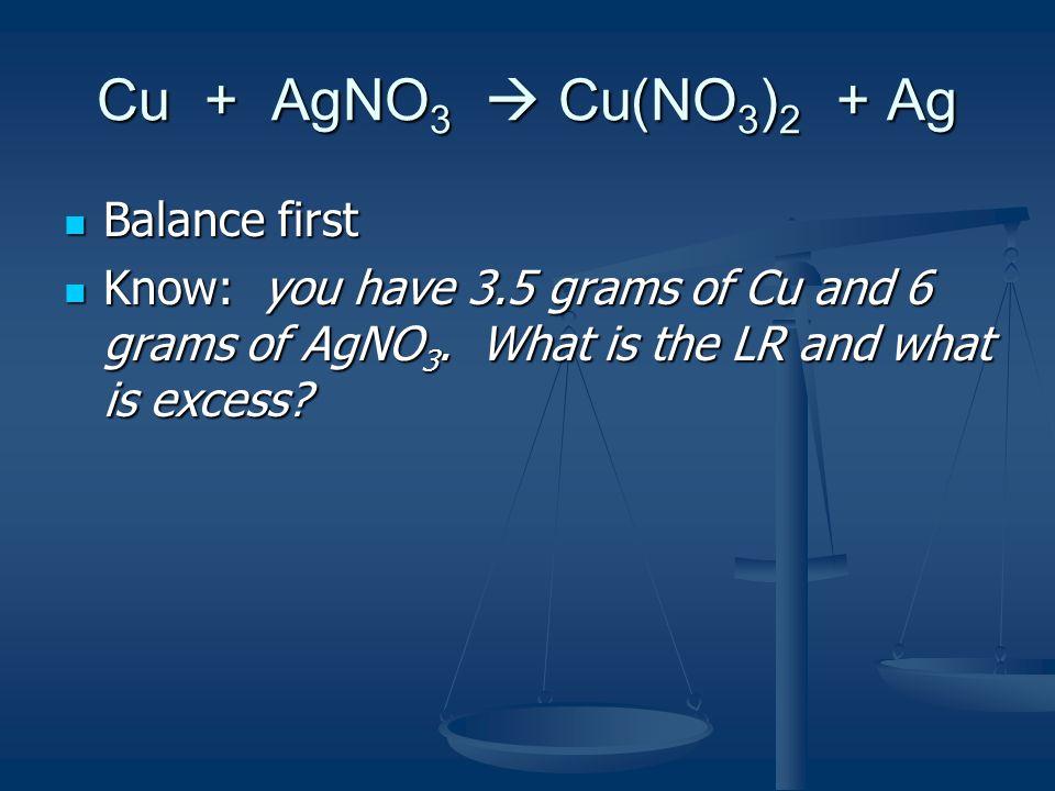 Cu + AgNO3  Cu(NO3)2 + Ag Balance first