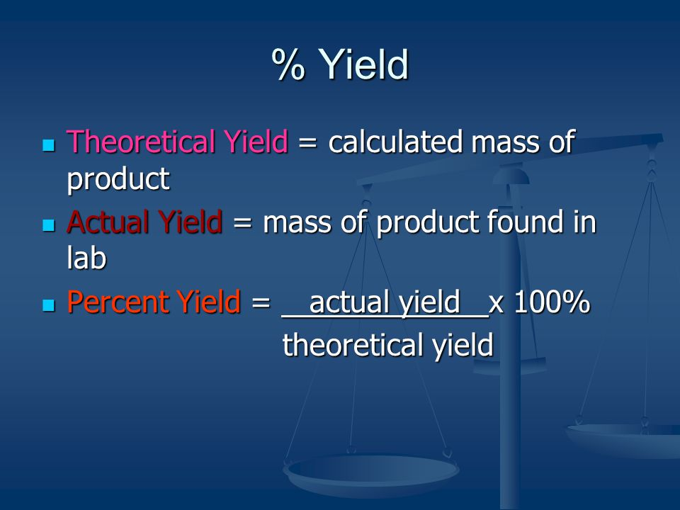 % Yield Theoretical Yield = calculated mass of product