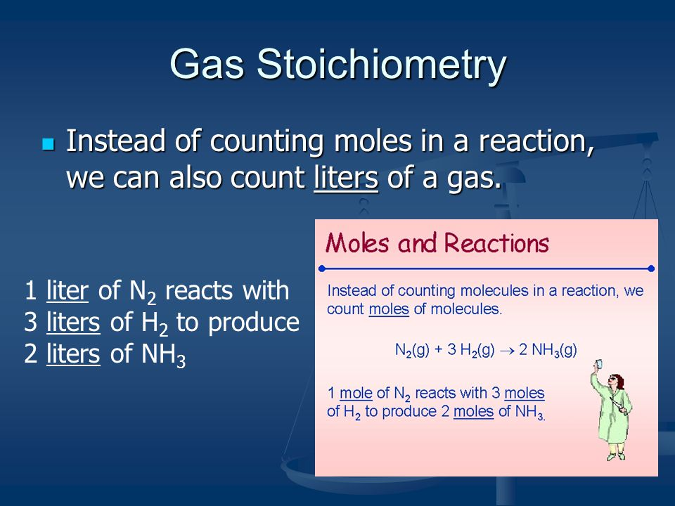 Gas Stoichiometry Instead of counting moles in a reaction, we can also count liters of a gas.