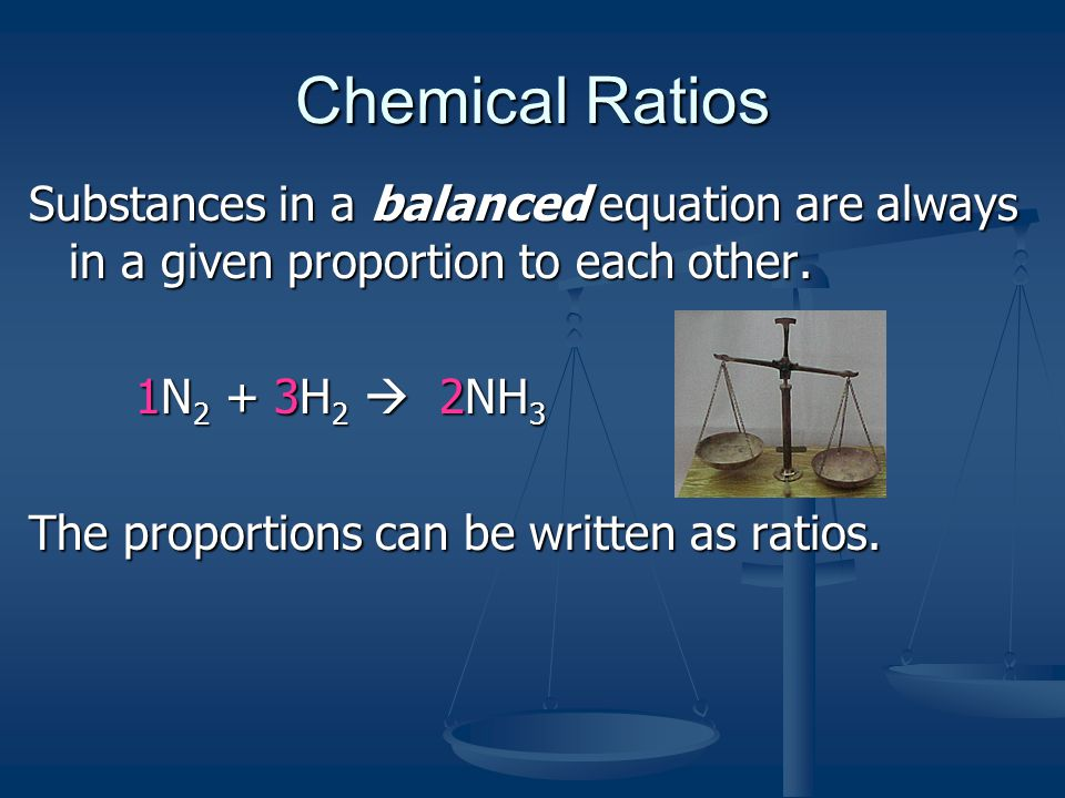 Chemical Ratios Substances in a balanced equation are always in a given proportion to each other. 1N2 + 3H2  2NH3.